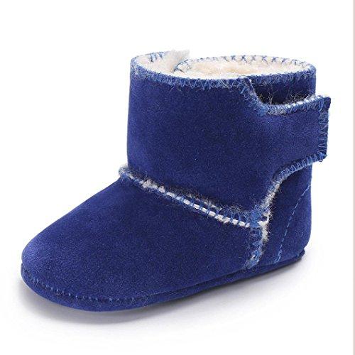 ❆HUHU833 Kinder Mode Baby Stiefel Soft Sole, Keep Warm Schnee Stiefel, Flauschige Samt Krippe Schuhe Winter Stiefel (0-18 Month) Blau