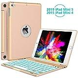 iPad Mini 5 / Mini 4 Keyboard - 135 Degree Flip 7 Color Backlit Aluminum Shell Smart Folio Keyboard Case with Auto Sleep/Wake for iPad Mini 5th Gen 2019 / iPad Mini 4 2015, Gold