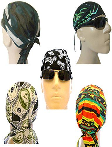 Biker Cap Set of 5 Motorcycle Bandana Head Wraps Tribal African Cash Money Camouflage Camo