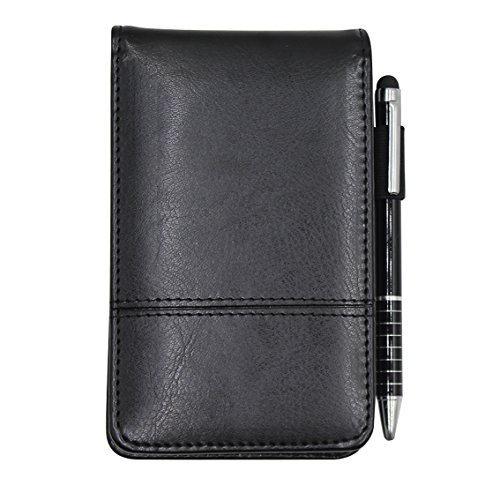 Small Pocket PU Leather Business Notebook Cover Jotter Multifunction A7 Mini Notepad with 8 Digital Calculator,30 Pages Note Paper, 0.7 Metal Rotating Pen,and Pen Holder (Black)