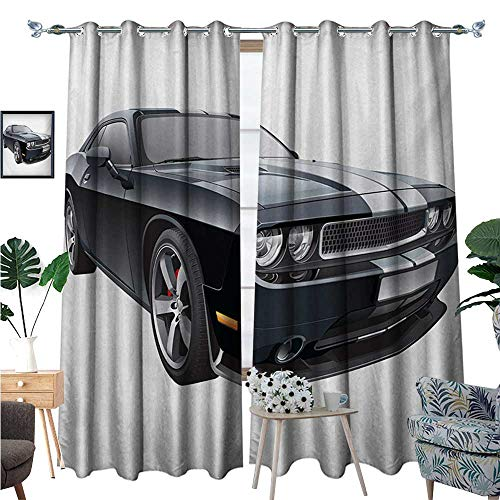 BlountDecor Cars Room Darkening Wide Curtains Black Modern Pony Car with White Racing Stripes Coupe Sports Dragster Print Customized Curtains W108 x L84 Black Grey White