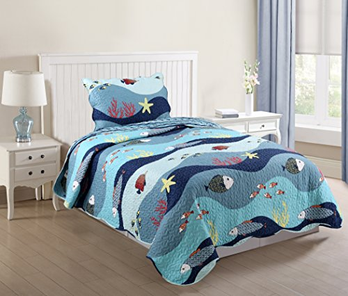 MarCielo 2 Piece Kids Bedspread Quilts Set Throw Blanket for Teens Boys Girls Bed Printed Bedding Coverlet, Twin Size, Ocean Fish (Twin)