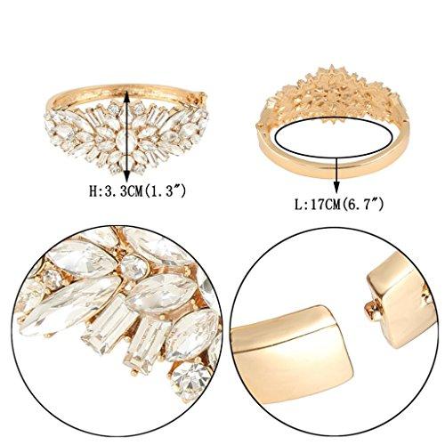 EVER FAITH® Cristal Autrichien Cérémonie Fleur Bracelet Manchette Plaqué Or Clair N05145-2