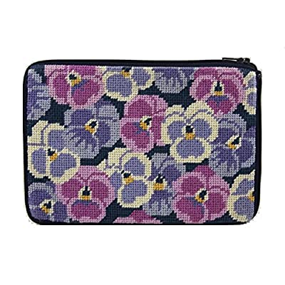 Stitch & Zip Needlepoint Purse/Cosmetic Case Kit - SZ513 Pansies
