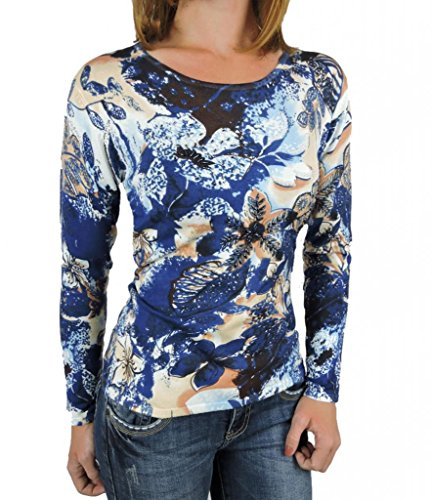 Sugar Rock Women Sweater Shirt Bead Embellished Artsy Long Slvs Top
