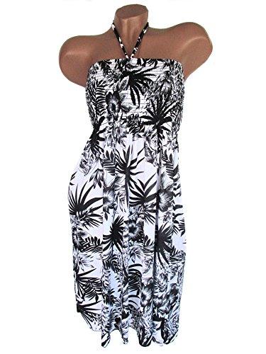 Sommerkleid, Neckholder, aus weichfließender Viskose, Muster, Weiß-Schwarz, AM-DA-RUT-B-2512