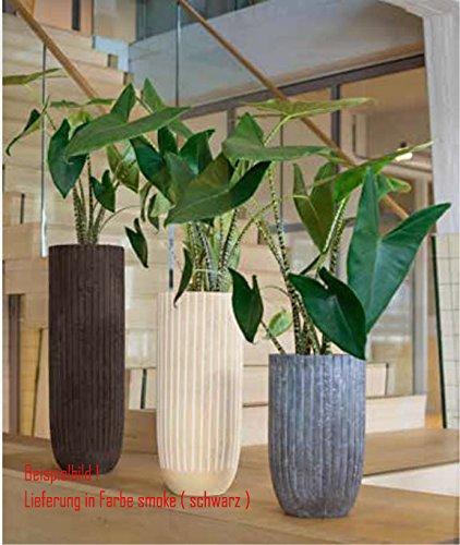 Blumenübertopf Polystone Lourdee Cylinder, nur für den Innenbereich geeignet, Farbe Schwarz, Ø 31cm Höhe 50cm