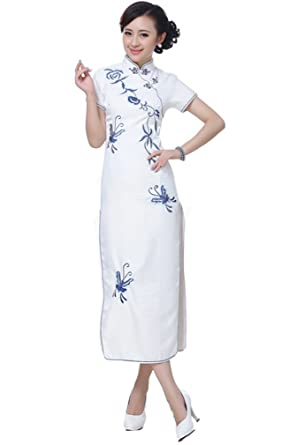 26cd1dd1249 JTC Chinese Cheongsam Qipao Party Women Evening Gown Party Butterfly Dress  Qipao White (UK12)  Amazon.co.uk  Clothing