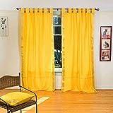 Cheap Lined-Yellow Tab Top Sheer Sari Curtain / Drape / Panel – 80W x 120L – Pair