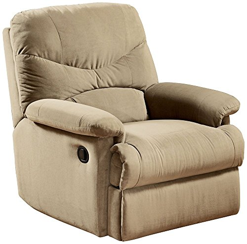 ACME 00626 Arcadia Recliner, Beige Microfiber - Microfiber Fabric Upholstered Sofa