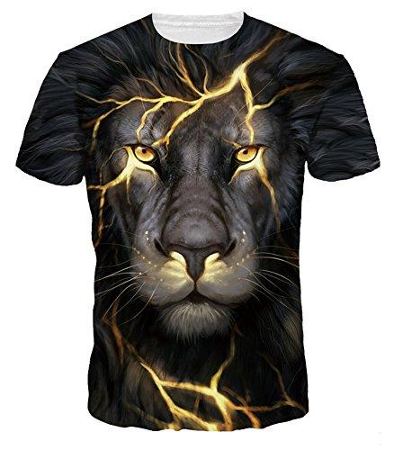 (NAYINLAN Unisex 3D Animal Print Short Sleeve T-Shirt Fashion Couple Tees,XXL)
