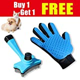 #2: SMIAOER Pet grooming glove & Pet grooming brush for dog cat small animal pet comb glove brush