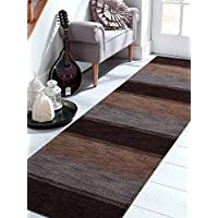 Rugsotic Carpets Hand Knotted Loom Woolen 2 6 x 12 Contemporary Runner Rug Dark Brown Beige L00206
