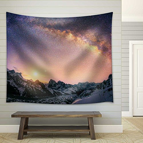 Spectacular Night View in Mountains with the Milk Way Fabric Wall Tapestry