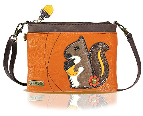 Chala Mini Crossbody Handbag, Multi Zipper, Pu Leather, Small Shoulder Purse Adjustable Strap (Pumpkin-squirrel)