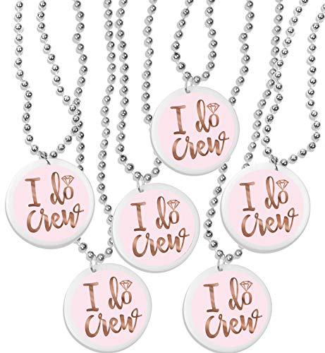 I Do Crew Rose Gold Bridal Shower Supplies - Set of 12 Beaded Necklaces - Bachelorette Party Supplies(I Do Crew) RGB]()