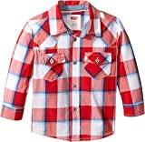 Levi's Baby Boys' Western Button Up Shirt, Pompeian Red/Dusk Blue, 12M