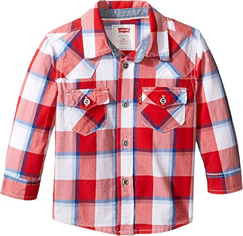 Levi's Baby Boys' Western Button Up Shirt, Pompeian Red/Dusk Blue, 12M by Levi's