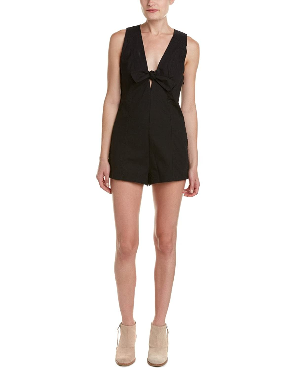 Free People Womens Keyhole Cut-Out Back Romper Black 2