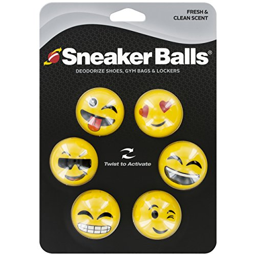 Sof Sole Sneaker Balls Shoe, Gym Bag, and Locker Deodorizer, 3 Pair, Emoji
