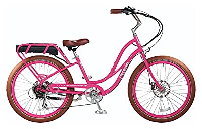 "Pedego Comfort Cruiser 26"" Step Thru Raspberry with Brown Balloon Package 36V 15Ah"