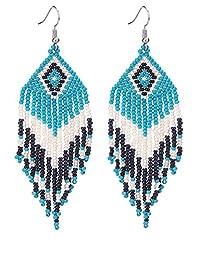 BALA Bead Dangle Long Tassel Fringe Earring Seed Bead for Women Dangling Japan Native American