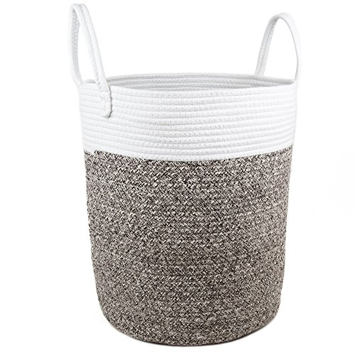 Comfy Cottage Extra Large Woven Storage Basket | Big Rope Baskets for Blankets & Baby Toy | Round Laundry Hamper with Handles | Pretty Tall Nursery Bins | White + Grey (Rope Inspirations)