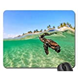 Baby Turtle in Blue Green Lagoon Tahiti Mouse Pad, Mousepad (Oceans Mouse Pad)