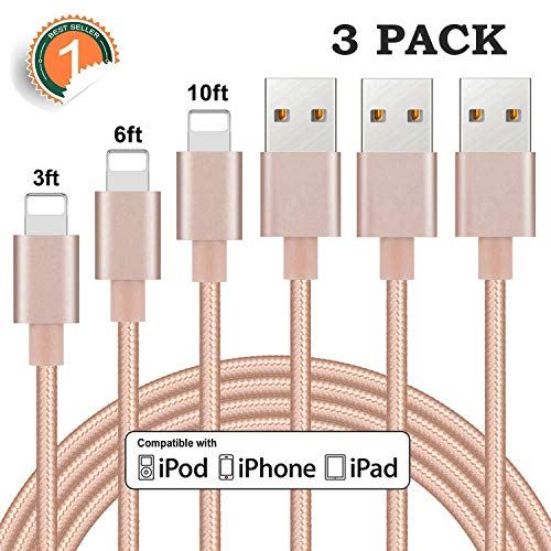 Sundix iPhone Charger Cable 3Pack 3FT 6FT 10FT Nylon Braided Charging Cord Compatible with iPhone XS SR X 8 8 Plus 7 7 Plus 6 6s 6 Plus 6s Plus 5 5s SE 5c, iPad, iPod
