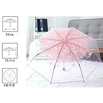 AZX Flor Paraguas Transparente para Mujer, Paraguas Plegable Antiviento, Paraguas para Lluvia (Rosa