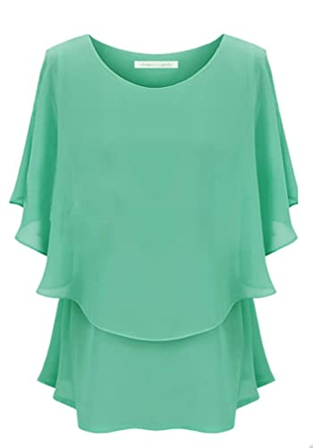 Andyshi para mujer gran tamaño cuello redondo gasa blusa vestido Asia tamaño