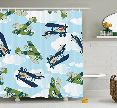 Ambesonne Airplane Decor Collection, Vintage Allied Plane Flying Pattern Cartoon Children Kids Repeating Toys Shark Teeth Image , Polyester Fabric Bathroom Shower Curtain Set with Hooks, Blue