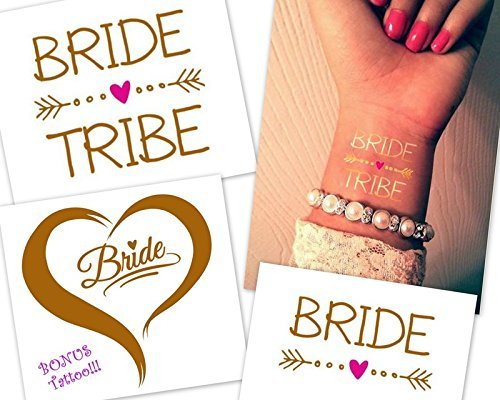 GORGEOUS Bride Tribe Bachelorette Party Tattoos (Set of 12 Gold & Pink) includes Bonus Bride Tattoo!!! by Rustic and Lace Designs