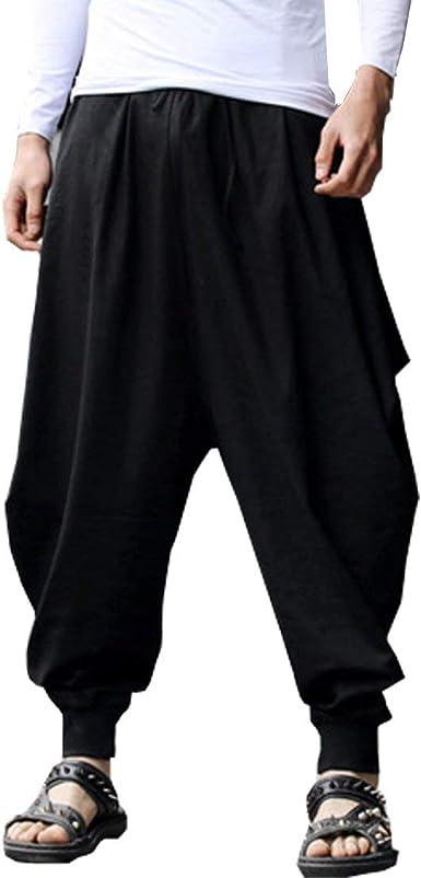 Amazon Com Bitlive Pantalones De Algodon Y Lino Para Hombre Talla Grande Cintura Elastica Casual Longitud De Tobillo Suave Talla Unica Clothing