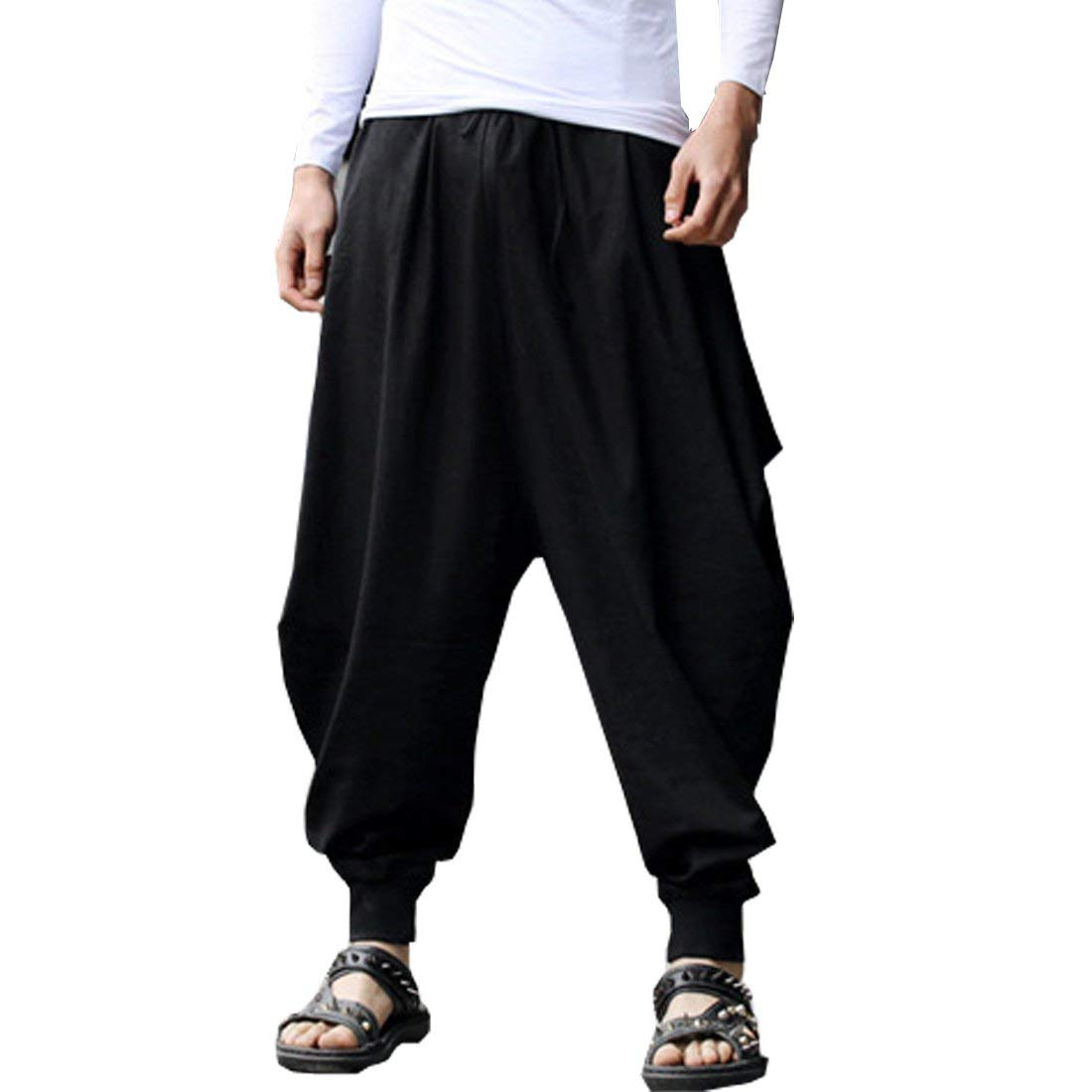 BITLIVE Men's Cotton Linen Plus Size Stretchy Waist Casual Ankle Length Pants
