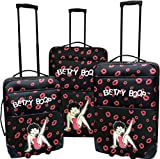 3Pc Luggage Set Travel Bag Rolling Wheel CarryOn Expandable Upright Betty Boop (Red)