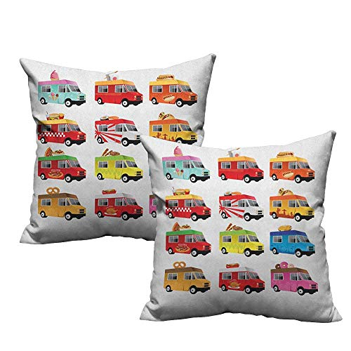 (RuppertTextile Customized Pillowcase Truck Ice Cream Asian Doughnut Burgers Pizza Sushi Hotdog Colorful Food Truck Illustration Mildew Proof W18 xL18 2 pcs)