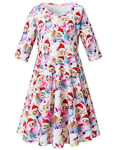Little Girl Daughter Kid Cat with Christmas Hat Printing Twirl Dress Cut Sleeve Aline Rainbow Cat with Red Hat Dresses Holiday Dress Slim Fit Beach Outfit Star Dress Shirt Size 10 11 12 (Christmas Ca