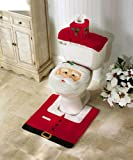 #7: OliaDesign Christmas Decorations Happy Santa Toilet Seat Cover and Rug Set
