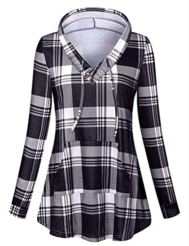 - Luranee Hoodies for Teen Girls, Womens V Hoodie Long Sleeve Casual Plaid Tops Trendy Going Out Outfits Modest Charming Decent Durable Well Made Popular Retro Buffalo Clothes Black XL