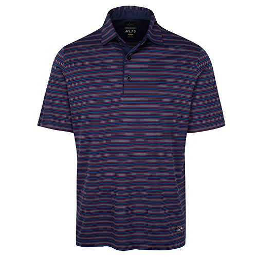 Greg Norman PGA Men's Ml75 Multi Stripe Polo, Small, Navy/Maritime