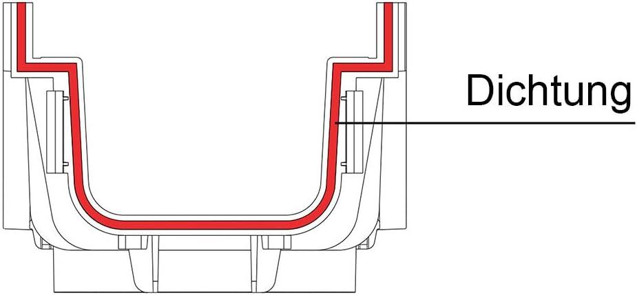 Stegrost Kunststoff Grau 100mm Tiefe 1m Entw/ässerungsrinne mit Dichtung Belastungsklasse B125