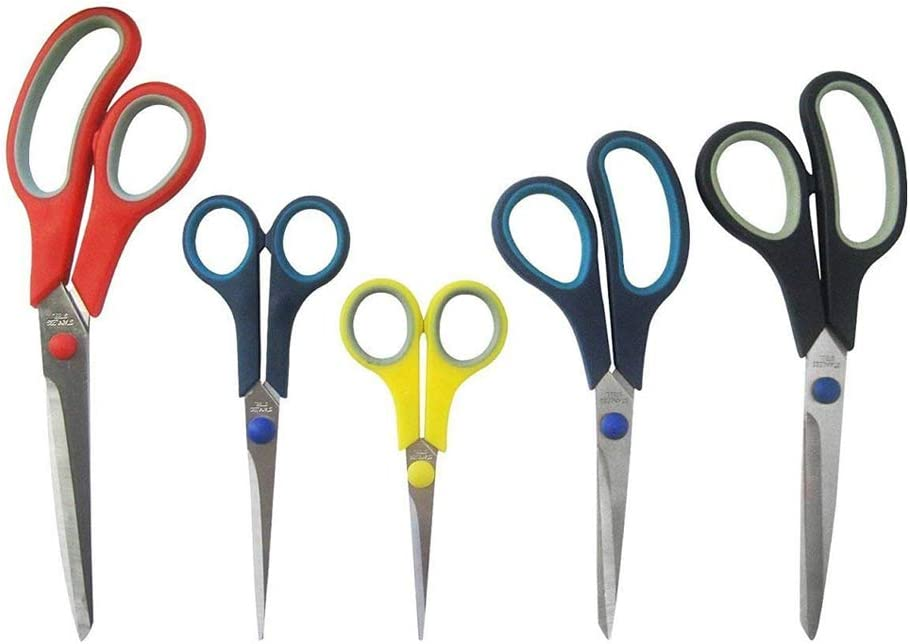 Katzco Stainless Steel Multi-Purpose Scissors Set - 5 Pieces Comfort Grip Scissors, For Fabric, Leather, Canvas, Vinyl, Paper, Clothes, Shoes, Kitchen, Arts and Crafts, School Supplies