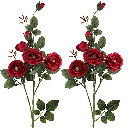 Supla 2 Pcs Garden Cabbage Head Rose Faux Flower Spray in Red 2.6