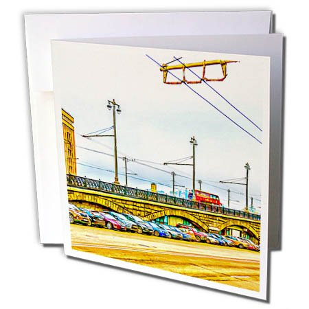 3Drose Alexis Photo Art   Moscow City   Line Of Cars By Moscow Large Stone Bridge  Digital Painting   12 Greeting Cards With Envelopes  Gc 272242 2