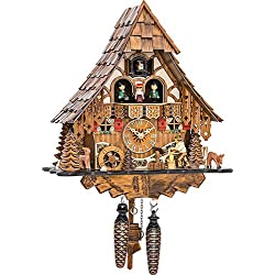 Quartz Cuckoo Clock Black Forest house with moving wood chopper and mill wheel, with music EN 4661 QMT