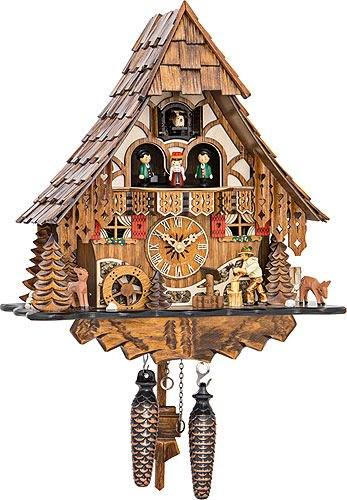 Quartz Cuckoo Clock Black Forest house with moving wood chopper and mill wheel, with music EN 4661 QMT Black Forest Wood Products