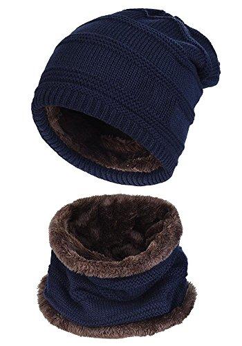 Beaii Sombrero de punto de calentamiento para hombres con forro polar Bufanda Azul