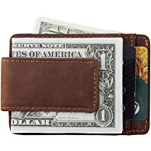 Mens Money Clip Wallet - Genuine Leather Magnet Front Pocket Wallet Credit Card Holder by Mcdull