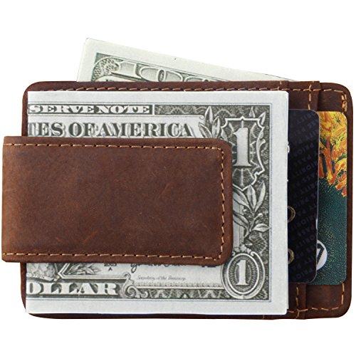 Money Clip Minimalist Front Pocket Wallet Magnetic RFID Genuine Leather Slim Wallet Credit Card Holder for Men Women by Mcdull(Crazy Horse Dark Brown)
